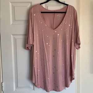 Torrid mauve pink with gold stars top